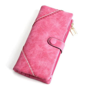 Exquisite Long Women's Leather Purse Featuring Versatile Fold Storage - 8 Colours Available Rose Red Purses