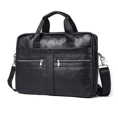 Male Business Bag Genuine Leather Black - Haus of Leather