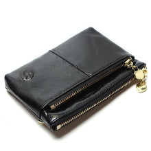 Mini Women's Genuine Leather Wallet With Oil Wax Finish - 7 Colours Available Black Purses