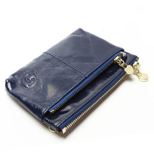 Mini Women's Genuine Leather Wallet With Oil Wax Finish - 7 Colours Available Blue Purses