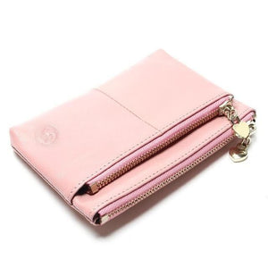 Mini Women's Genuine Leather Wallet With Oil Wax Finish - 7 Colours Available Pink Purses