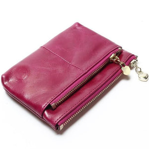 Mini Women's Genuine Leather Wallet With Oil Wax Finish - 7 Colours Available Purple Purses