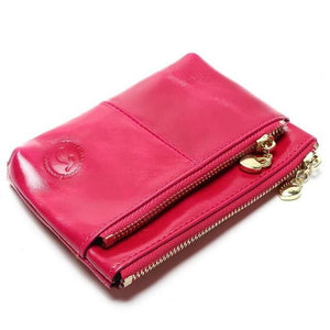 Mini Women's Genuine Leather Wallet With Oil Wax Finish - 7 Colours Available Rose Purses