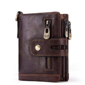 sophisticated men genuine leather wallet coffee