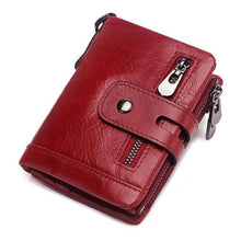 sophisticated men genuine leather wallet red