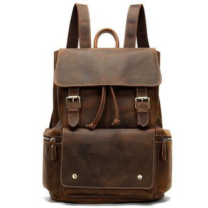 mens leather backpack coffee crazy horse leather