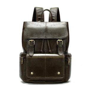 mens leather backpack coffee