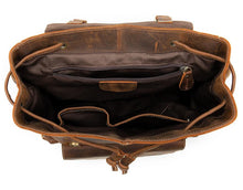 mens leather backpack interior