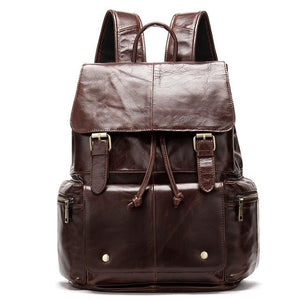 mens leather backpack red brown