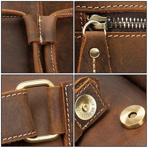 mens leather backpack zip detail