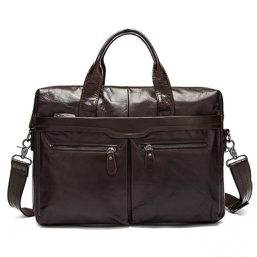 Men's Genuine Leather Tote Satchel Bag With Single Strap - Haus of Leather