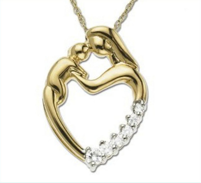 Pure Sterling Silver Mother kissing Child Pendant Necklace