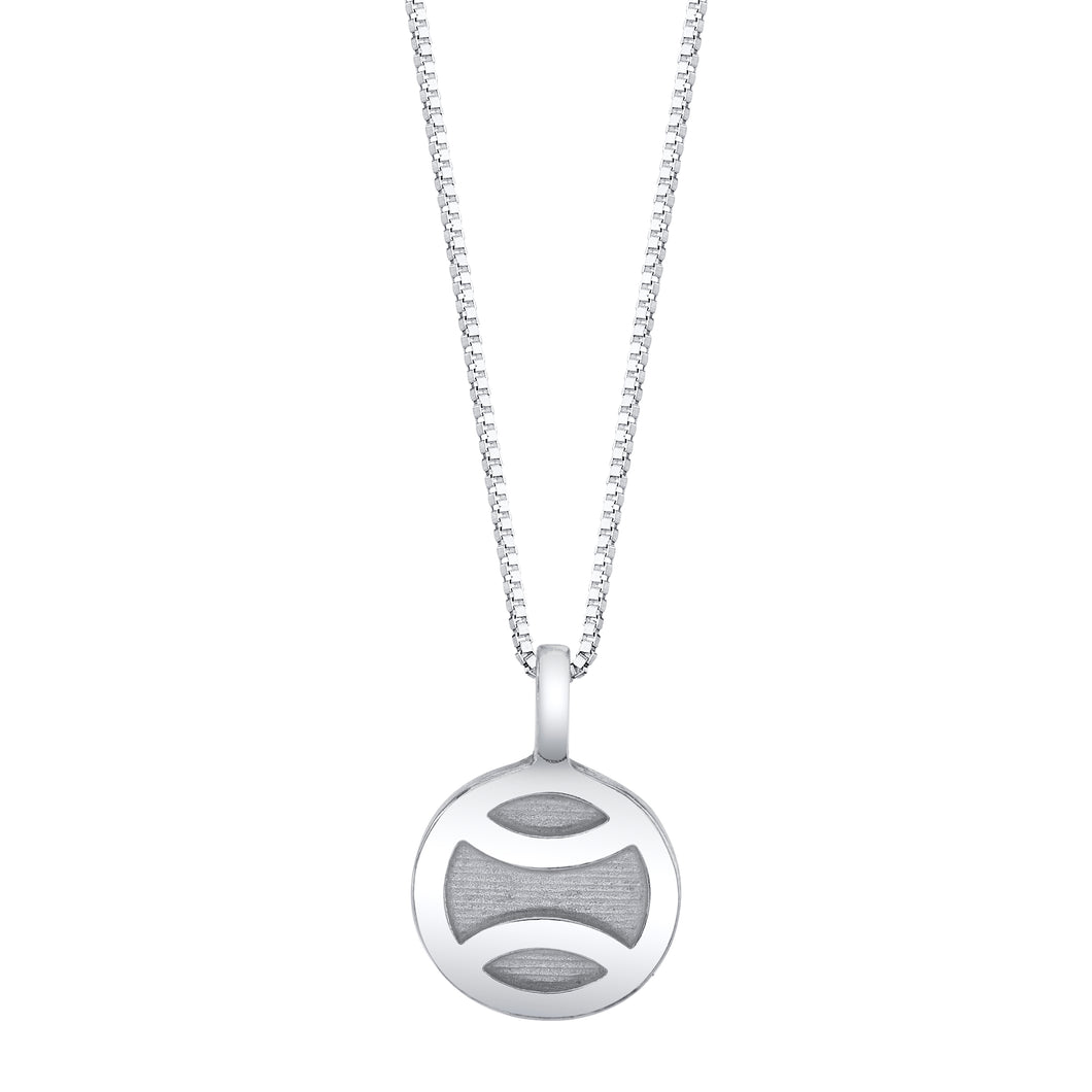 10mm silver tennis ball pendant on an 18 inch silver chain