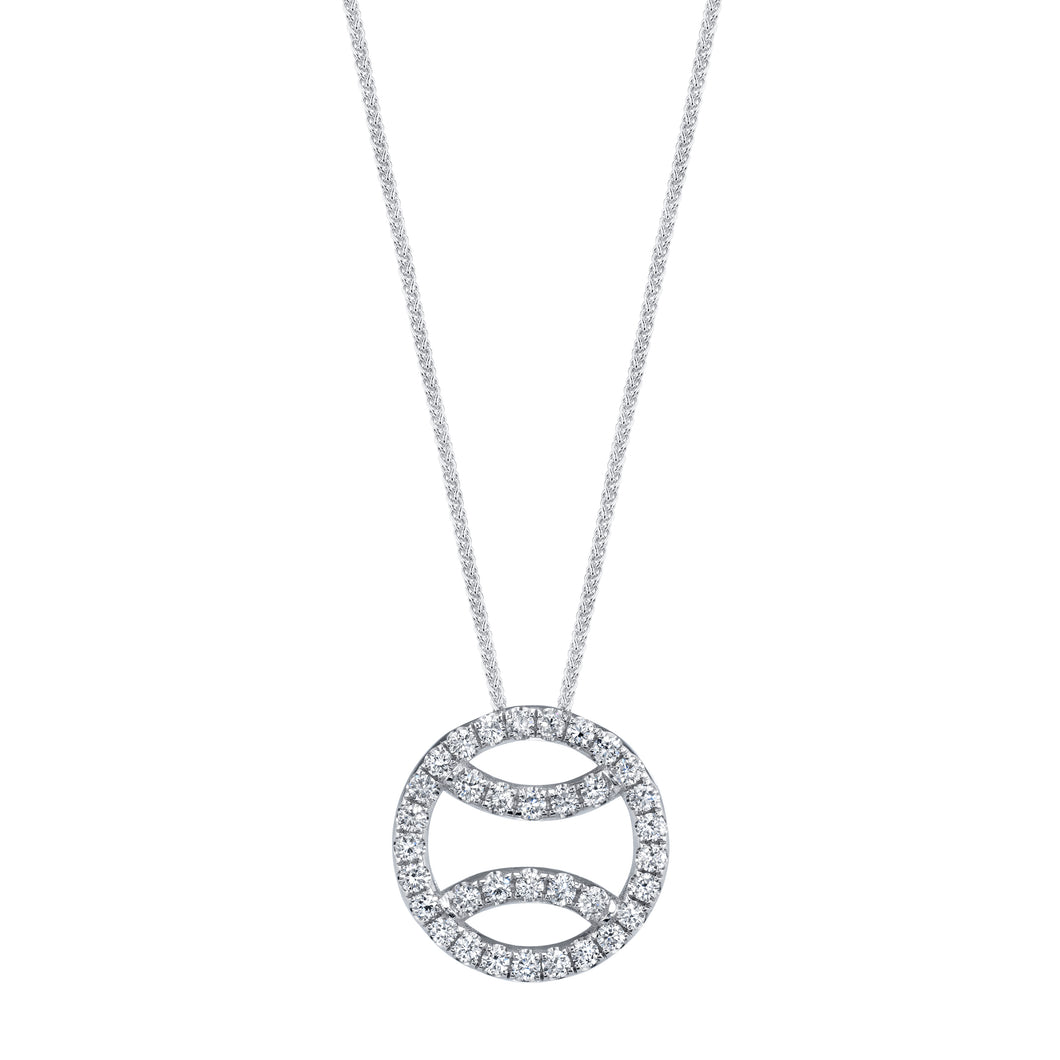 Diamond Tennis Ball Necklace in 18k white gold, small