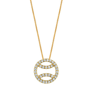 Diamond Tennis Ball Necklace in 18k yellow gold, small