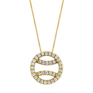 Diamond Tennis Ball Necklace in 18k yellow gold, large