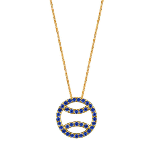 Sapphire Tennis Ball Necklace in 18k yellow gold, large