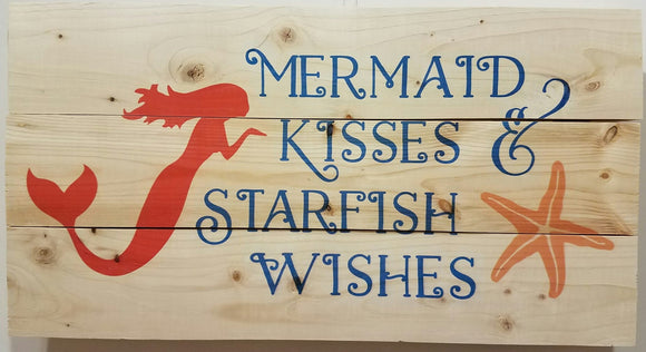 Mermaid Kisses Starfish wishes 3 panel wood sign.