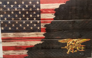 American flag,  ragged edge with Navy Seal Trident