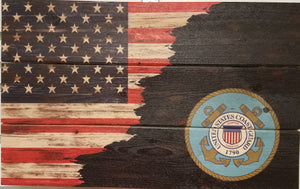 American flag,  with ragged edge with US Coast Guard Emblem