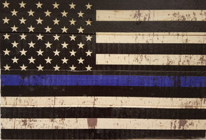 American flag  blue line police