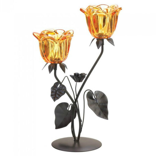 Amber Flower Double Candle Holder