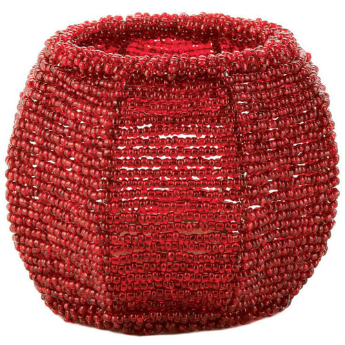 Red Beaded Candle Holder