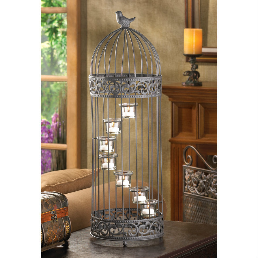 Birdcage with Spiral Staircase Candle Holders