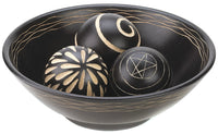Carved Tribal Style Wood Bowl and Balls - Black
