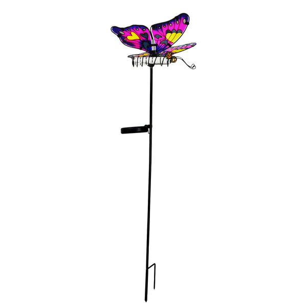 Solar Pink & Blue Butterfly Stake with Color Changing Bar