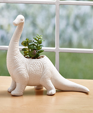 Dinosaur with Faux Plant