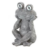 Frog Statue with Solar Eyes
