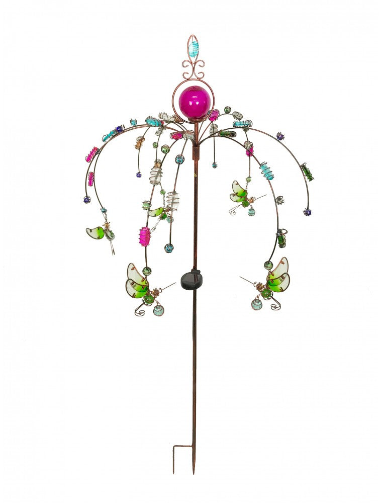 Hummingbird Garden Stake with Beaded Ornaments Solar Lighted