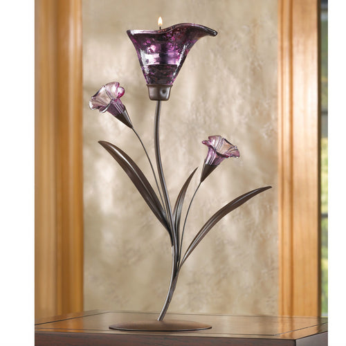 Purple Lily Candle Holder