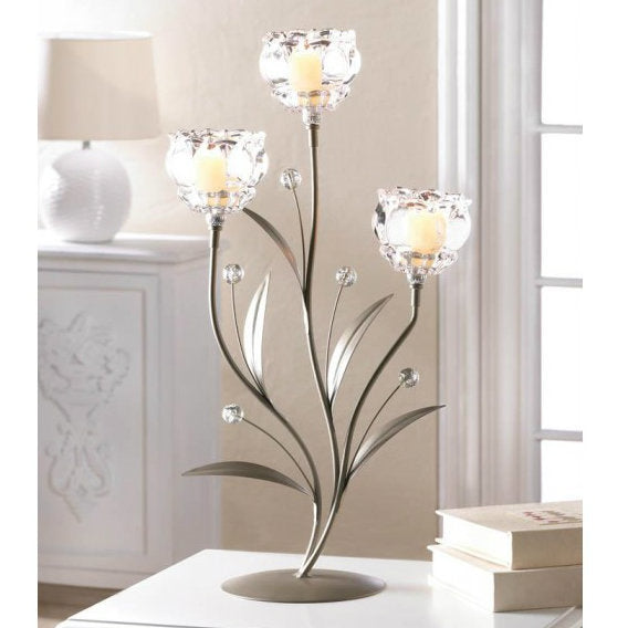 Crystal Bloom Triple Candle Holder