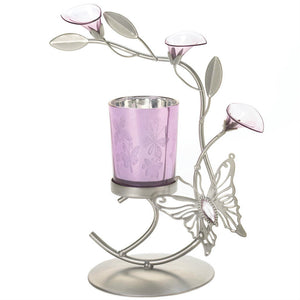 Lily Flower Butterfly Candle Holder