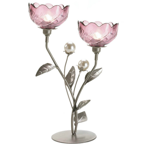 Pink Flowers Candle Holders