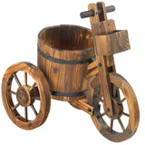 Rustic Wood Barrel Tricycle Planter
