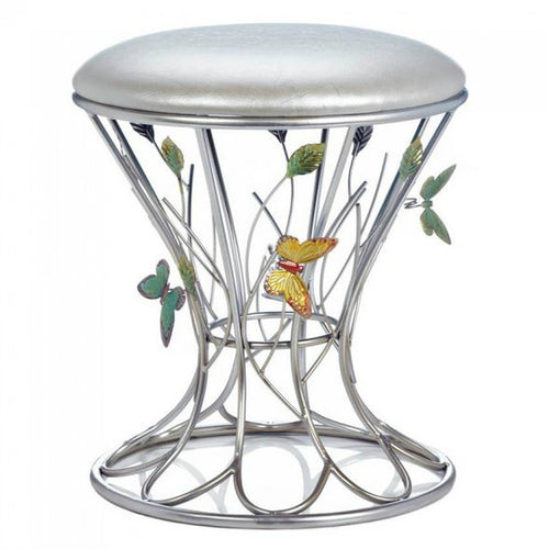 Silver Metal Butterfly Stool