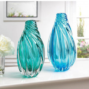 Spiral Twist Art Glass Vases