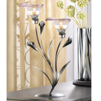 Two Blossom Calla Lily Candle Holder