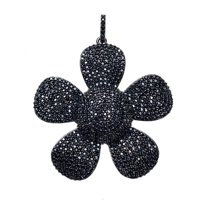 large black cz flower