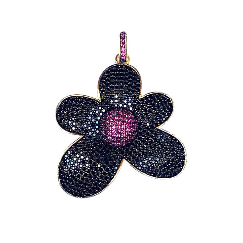 black and pink cz flower