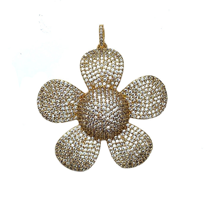 large gold cz flower