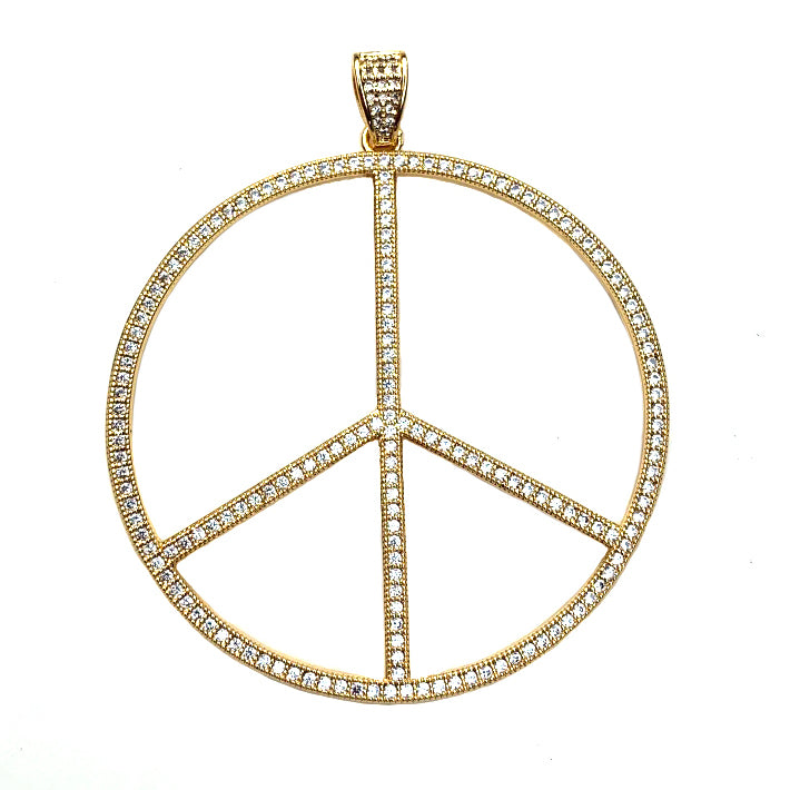 large gold cz peace sign