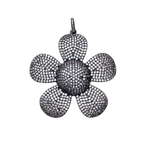 large gunmetal cz flower