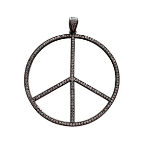 large gunmetal cz peace sign