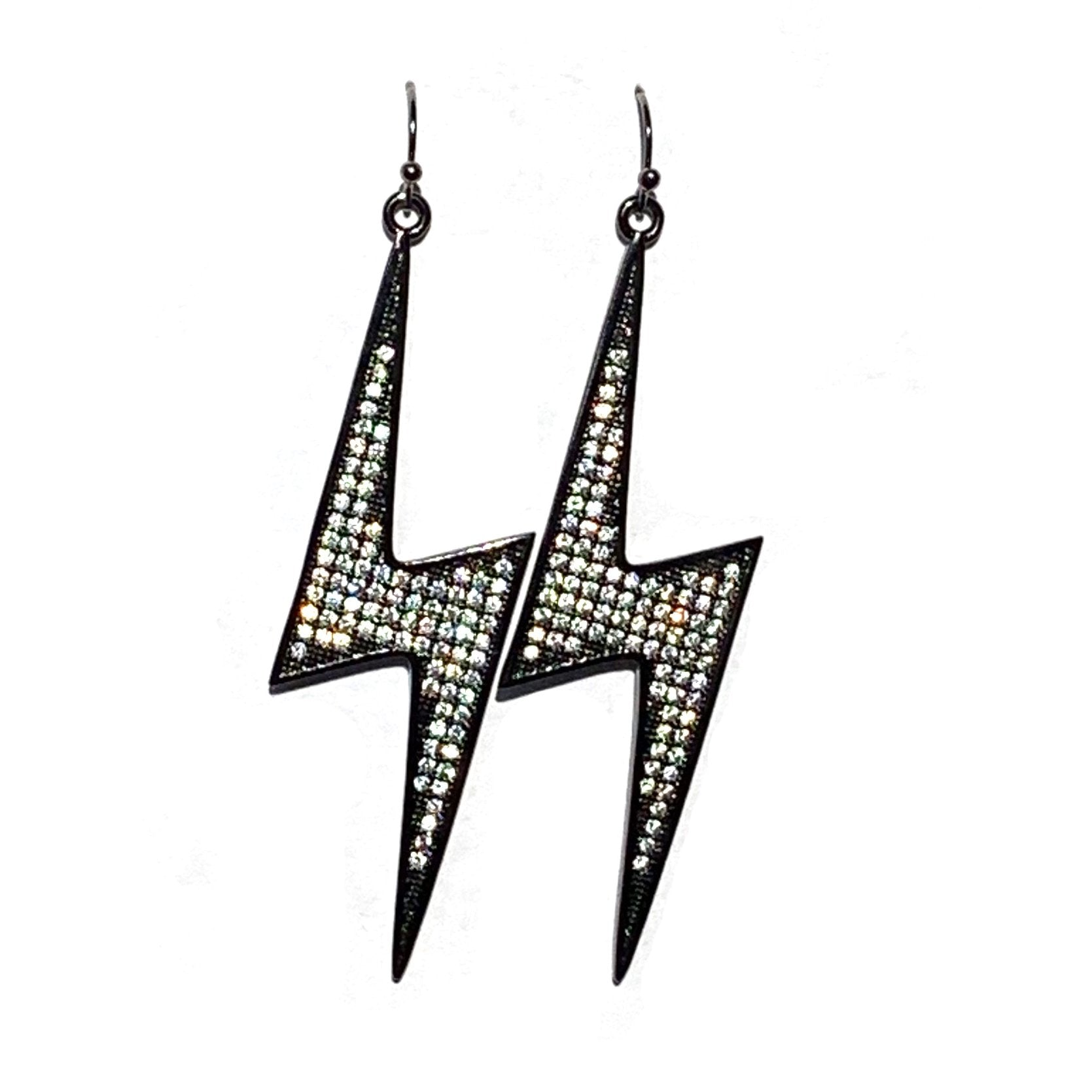 lightning earrings gunmetal