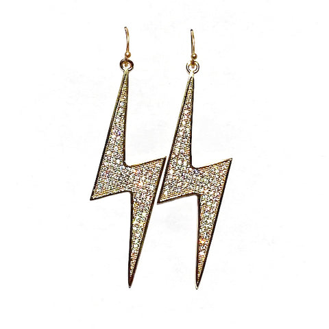 lightening earrings gold