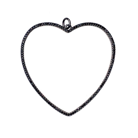 black open heart pendant